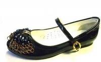 .Minitin туфли школьные черные/цветок